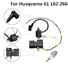 Us 16 02 52 Off 2 Parts Ignition Coil Spark Plug Set For Husqvarna 61 162 266 Jonsered 630 670 Chainsaw Old Type Ignition Coil Set In Chainsaws From