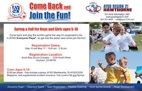 half page flyer come back to ayso ayso marketing