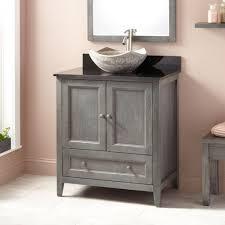 rustic gray bathroom vanities. Soft Pink Wall Color For Shabby Chic Bathroom Ideas With Rustic Grey Vanity And Stone Vessel Sink Gray Vanities U