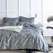 simple grey leaf pattern bedding sets 2 bed linings duvet cover pillowcases set twin queen king