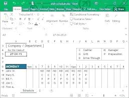 Work Roster Template Employee Example Staff Word Free