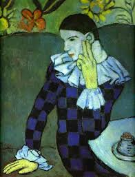 pablo picasso leaning harlequin 1901