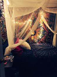 Trippy Outdoor Lights Bohemian Boho Trippy Bedroom Bed Lights Tapestry Bed