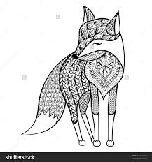 Small Picture Zentangle vector happy Fox for adult anti stress coloring pages
