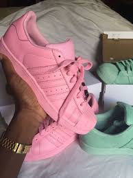 adidas shoes 2016 for girls tumblr. all pink and green adidas superstar sneakers shoes 2016 for girls tumblr