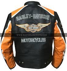 mens harley davidson classic cruiser orange stripes motorcycle leather jacket