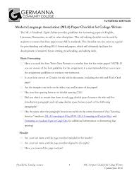 Mla Essay Heading Writers Checklist For Mla 8 Format By Germanna Community