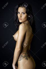 Back Of The Beautiful Naked Woman With Tattoo Photo With Dark Stock Photo Picture And Royalty Free Image Image