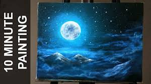 painting moonlit clouds in a starry night sky with acrylics in 10 minutes you