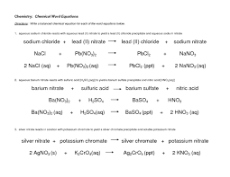 chemical word equations worksheet gcse tessshlo balancing