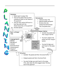 poetry comparison essay plan by maz teaching resources tes