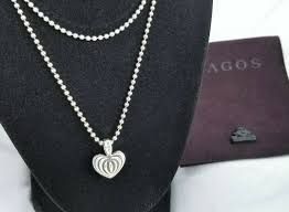lagos sterling silver fluted heart pendant necklace 34 length stunning from lagos