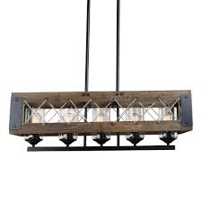 cross framed rectangular island farmhouse chandelier ceiling light