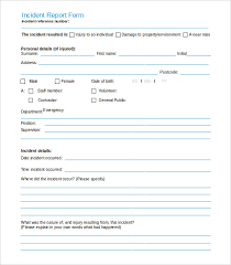 Safety Incident Report Form Template 37 Incident Report Templates