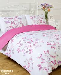 stephanie reversible pink white erfly single bed size duvet cover set co