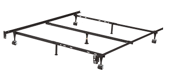 King's Brand Furniture 7-Leg Adjustable Metal Bed Frame with Center Support Rug Rollers and Locking Wheels for Queen/Full/Full XL/Twin/Twin XL Beds