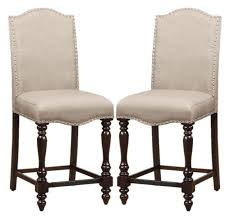counter height dining chairs linen like upholstered nailhead trim set of 2