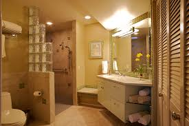 transitional master bathroom remodel with cantilevered bathroom vanity cabinets quartz bathroom countertops accessible roll