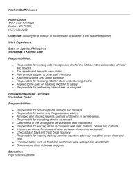 objective for cover letter sample kitchen helper resume