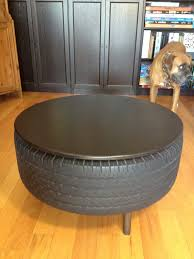 table recycled materials. Recycled Tire Coffee Table Alongside Circle Wooden Top Paint Finished Base Materials R