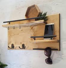 Wooden Coat Rack Wall Mounted Shelf Wood Coat Rack Entryway Organizer Mail Storage Key Hook 76