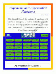 algebra i smartboard jeopardy game exponents and exponential functions from jamesrahn on teachersnotebook com