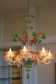 archimede seguso murano glass eight arm chandelier