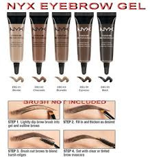 nyx makeup eyebrows. nyx eyebrow gel: rp. 110.000. keep your misbehaving brows in place with our discreet and easy-to-use brow gel! the lightweight waterproof formula creates nyx makeup eyebrows