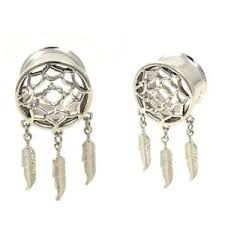 Dream Catcher Tunnels PAIR STAINLESS STEEL DREAM CATCHER FEATHERS DANGLE TUNNELS EAR 27