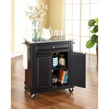 Kitchen Cart With Granite Top Crosley Black Kitchen Cart With Granite Top Kf30023ebk The Home
