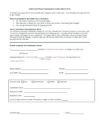 Recurring Payment Authorization Form Authorization Form Template