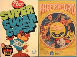 Image result for cereal box with record on the back