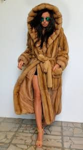 sable furs gold russian sable long fur coat with big hood