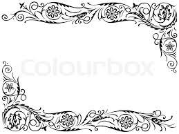 frame design. Design Frame With Black Swirling Decorative Floral Elements Ornament, Vector T
