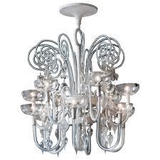 carlo scarpa white structure and murano glass chandelier for venini 1940s