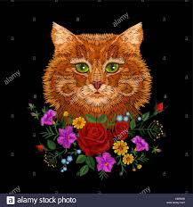 Cat Silhouette Embroidery Design Red Orange Striped Cat Green Eyes Face Head Embroidery