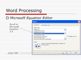 10 word processing microsoft equation editor