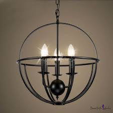 16 wide wrought iron black globe led chandelier with 3 light beautifulhalo com