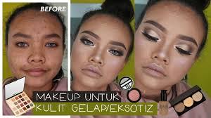 tutorial makeup di kulit gelap eksotis bagaimana cara mixing foundation menutup jerawat inivindy