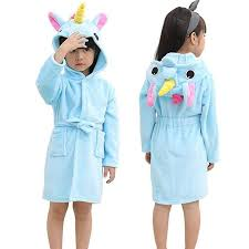 Poncho Towel Blue Unicorn Robe Amazoncom Cute Baby Bathrobes For Girls Pajamas Kids Rainbow Unicorn Pattern