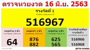 ตรวจหวยวันนี้ ผลสลากกินแบ่งรัฐบาล งวด 16/6/2563 (16 มิ.ย. 2563) | 16  มิถุนายน 2563 - YouTube