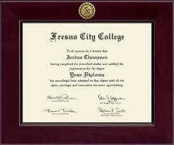 fresno city college century gold engraved diploma frame in cordova  fresno city college diploma frame