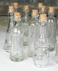 height with cork 4 75 inch 5 inch assorted styles made of clear glass clear vintage bottles