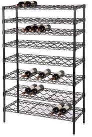 wire wine rack. Buy Omega Precision - 14\u0026quot; Deep X 48\u0026quot; Wide 74\u0026quot; High 13 Shelf Black Wire Wine Rack 117 Bottle Storage Capacity Qty(13)