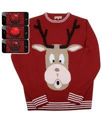 Red Nosed Reindeer Rudolph Mens Ugly Christmas Sweater - Costumes