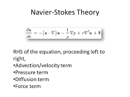 5 navier stokes theory rhs of the equation proceeding left to right advection velocity term pressure term diffusion term force term
