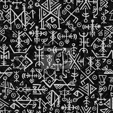 Fototapeta Futhark Norský Islandský A Vikingský Symbol Bezproblémový Vzor