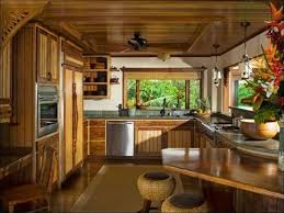 Tropical Kitchen with Flush, U-shaped, flush light, Ceiling fan, Flat