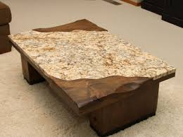 ... Coffee Table, Simple Brown Rectangle Ancient Wood Granite Top Coffee  Table Designs To Fill Living ...