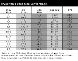 Frye Size Chart Cm